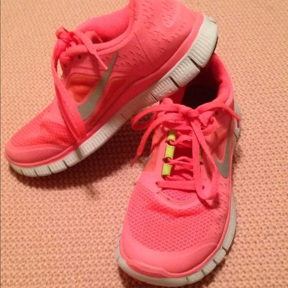 Coral Neon Green Nike Free Run 3